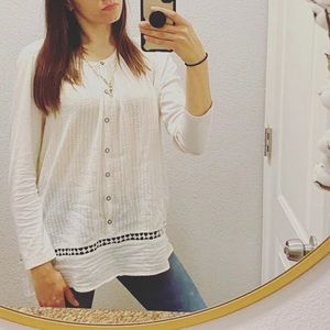 Lucky Brand top L white tunic blouse shirt